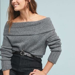 Anthro Off-The-Shoulder Grey Sweater